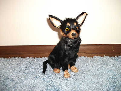 CHIHUAHUA PUPPY DOG lifelike FURRY ANIMAL Toy REPLICA d572 blk FREE SHIPPING USA