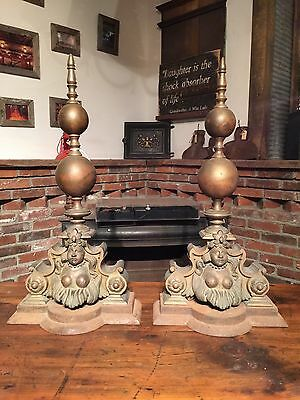Brass & Cast Iron Women Goddess Figures Fireplace Andirons- Antique Mid Century