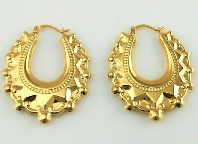 New 9ct Yellow Gold Victorian Style Spiked Oval Creole Hoop Earrings 3 gr