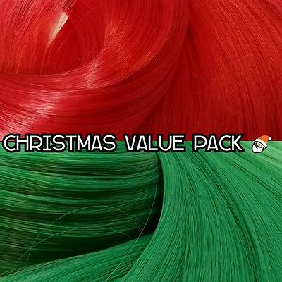 Christmas Red & Green XL 4oz 2 Color Value Pack Nylon Hair to Reroot Doll Pony
