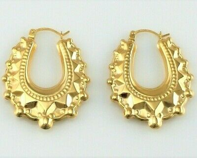 New 9ct Yellow Gold Victorian Style Spiked Oval Creole Hoop Earrings 2 gr