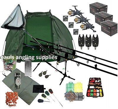 ASL 3 Rod Carp Set Up Kit Fishing Reels Alarms Bait Tackle Mat Shelter Net
