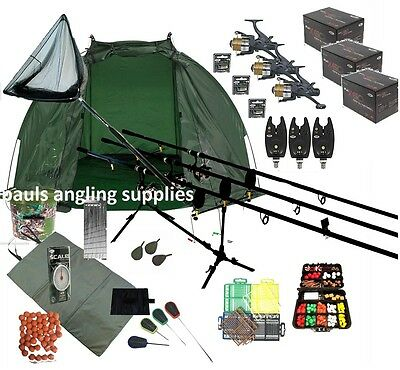 Mitchell 3 Rod Carp Set Up Kit Fishing Reels Alarms Bait Tackle Mat Shelter Net