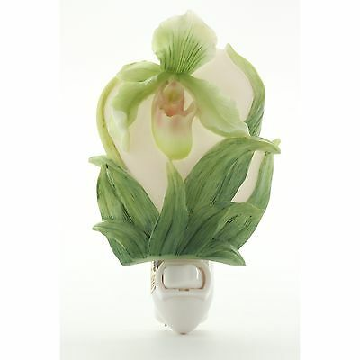 Lady Slipper Orchid Hand Painted Marble Night Light by Ibis and Orchid