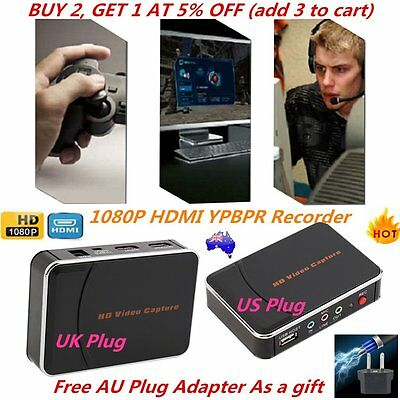 HD Game Video Capture 1080P HDMI YPBPR Recorder US/UK Plug for Game Lovers PY