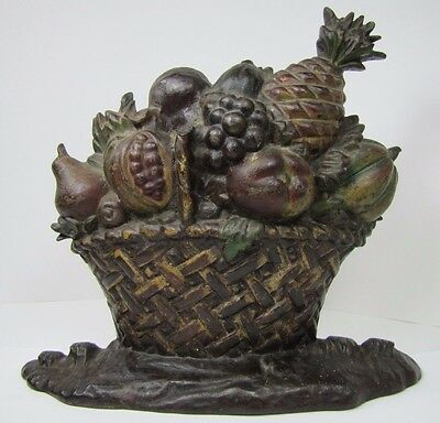 Antique Cast Iron Fruit Basket Doorstop original old paint ornate htf big heavy