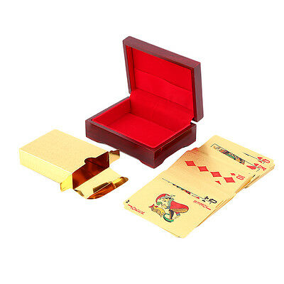 Playing Cards 24k Gold Plated Full Poker Deck Pure With Box Christmas Gift F&