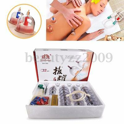 32 Cups Set Vacuum Cupping Massage Acupuncture Suction Health Body Stress Relief