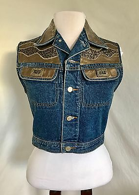 Cache XS Vintage Denim Vest 90s Cheetah Print Gold Cropped