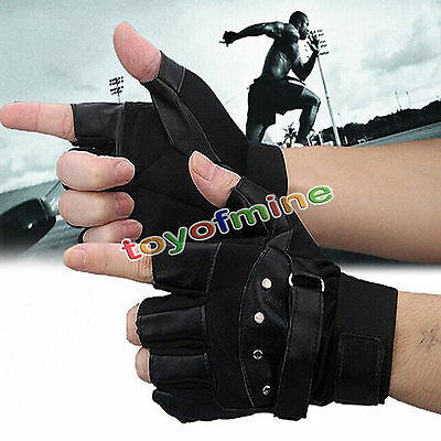 Leather Half Finger Gloves Fingerless Men's Sports Cool Black