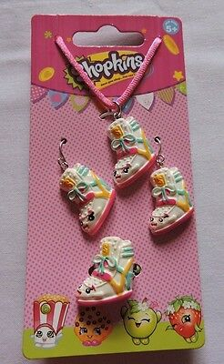 New Shopkins Sneaky Wedge Necklace Earrings Ring Jewelry Set