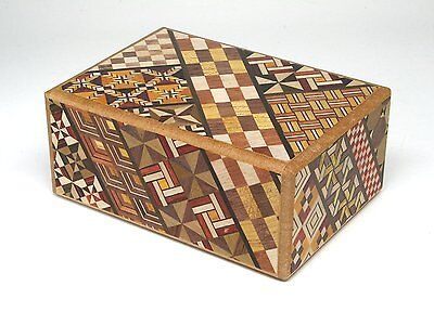 Yosegi zaiku Puzzle Box 4 Steps Japanese parquetry MADE IN japan F/S