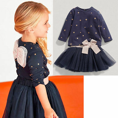 Baby Girls Party Knit Tops T-shirt+Tulle Skirts Outfits Set Tutu Dress UK Stock