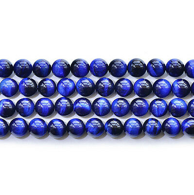 Natural 5A Blue Tiger's Eye Stone Gemstone Round Spacer Loose Beads 15""