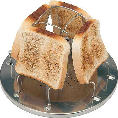 Camping Toaster Rack 4 Slice Toast Tray for Camp Gas Stoves Cooker Family
