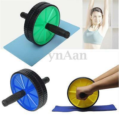 Dual ABS Abdominal Roller Exercise Wheel With Pad Gym Fitness Training Machine