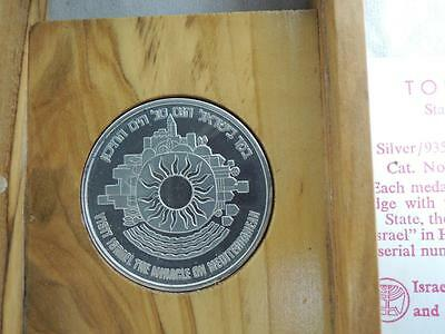ISRAEL 1983 TOURISM STATE MEDAL 22g STERLING SILVER +OLIVE WOOD BOX +COA