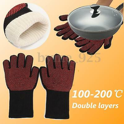 1 Pair Heat Resistant Gloves Hot Protective Pot Heatproof BBQ Grill Oven Kitchen