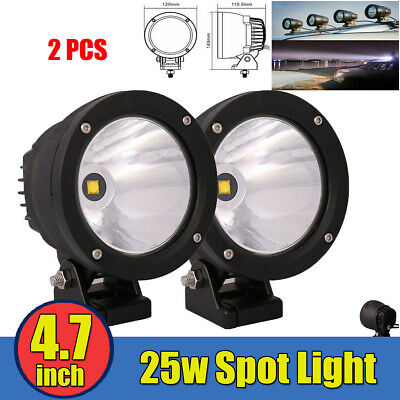 2x 4.7inch Led Spot Lights 25w Cannon Work Driving Lamp Offroad for Jeep 4WD ATV