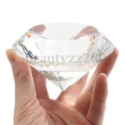 Clear/Green Paperweight Cut Crystal Diamond Jewelry Wedding Decor Gifts 100MM