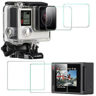 4x Tempered Glass LCD Screen Protector film Cover for  GoPro Hero 4 Black Silver