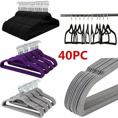 40X Grey/Black/Purple Non-slip Flocked Velvet Coat Clothes Hangers w/Trouser Bar