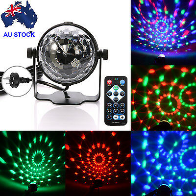 RGB LED Remote Disco Home Party Crystal Magic Ball DJ Stage Effect Light Lamp AU