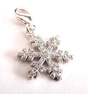 925 Sterling Silver   ' Cz Clear SNOWFLAKE'   Lobster Clip-On Charm fit bracelet