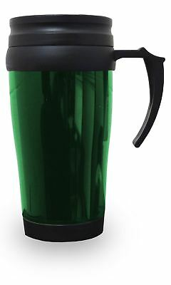 Thermal Insulated Travel Coffee Mug 0.45L Flask Cup Removable Lid Green