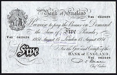 B270 BEALE 1951 WHITE £5 NOTE * V45 062629 * gVF *