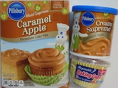 PILLSBURY 'Caramel Apple' Cake Mix,Backmischung with Frosting and Cups 885gr USA