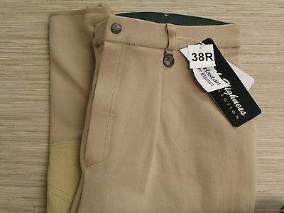 Royal Highness Beige Riding Breeches Men's Size 38R Zipper Fly Pleated