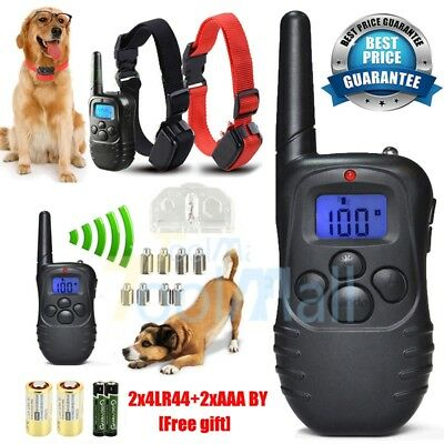 Waterproof Electric Shock Vibra Remote Training Collar Bark Collar for 2 Dogs US