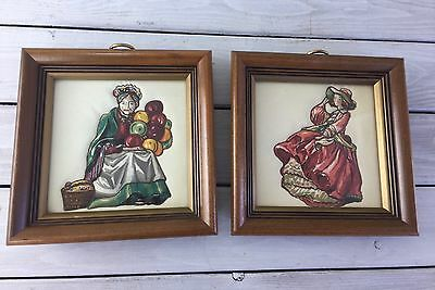 Quilted Stitched Art Figures Woman Lady Set Wood Frame Glass Jewel Toned Unique