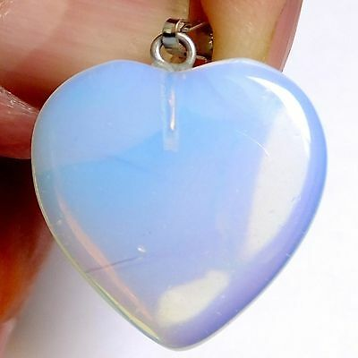 NATURAL IRIDESCENT FIRE OPAL WONDERFUL HEART SHAPE PENDANT (19.7  x19.4 mm)