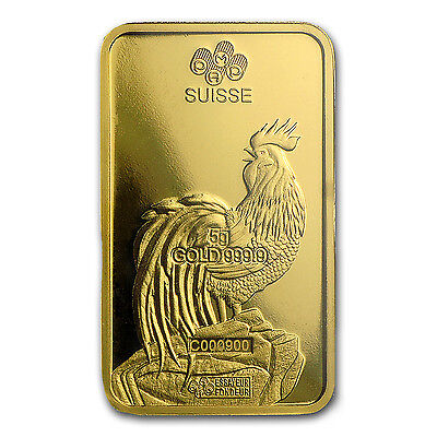 5 gram Gold Bar - PAMP Suisse Year of the Rooster (In Assay) - SKU #104119