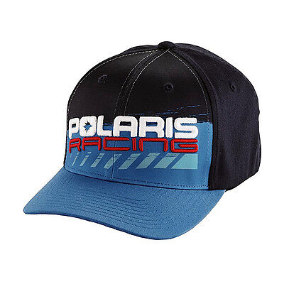 OEM Polaris Blue & Navy Cross Racing Baseball Hat Cap Flex-Fit Size L/XL
