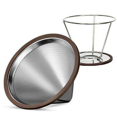 Pour Over Coffee Filter Stainless Steel Dripper w/ Stand Mug or Chemex Cone Brew