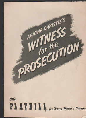 Agatha Christie's Witness for the Prosecution Playbill August 8 1955 Gene Lyons