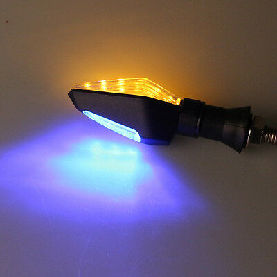 4x 12 LED Motorcycle Turn Signal Indicator Light Bulb Blinker Blue&Amber Color