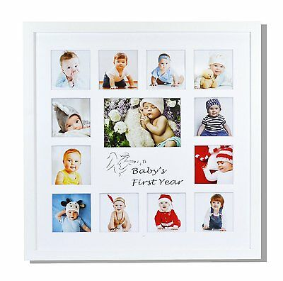 Baby Frames Collection 16x16 Inch My First Year Baby Photo Wood