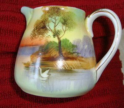Cream Pitcher by Noritake, Hand painted senic antique creamer