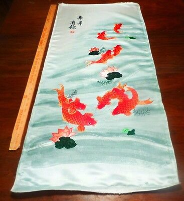 "Lg. Vintage Chinese Silk Embroidered Lucky Coy Fish Panel. Signed, 42"" X 18 1/2"""