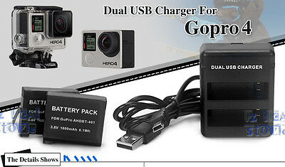 2X AHDBT-401 3.8V 1600mAh Battery + Dual USB Charger For GoPro Go Pro HD Hero 4