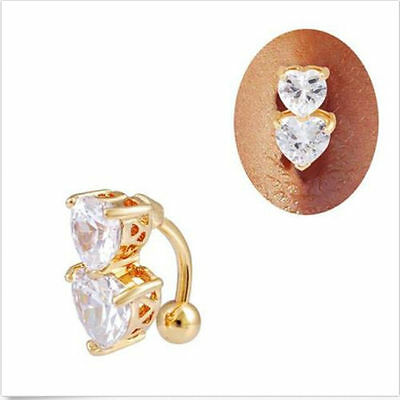 Navel Nail Body Jewelry Double Love Belly Ring Reverse Zircon Crystal Bar