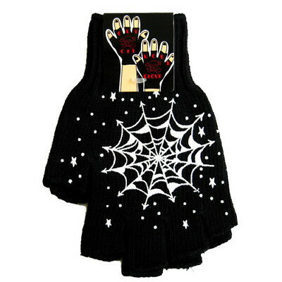 Old School Fingerless Cut Off Gloves Black Spider Web Tattoo Short Workers Glove