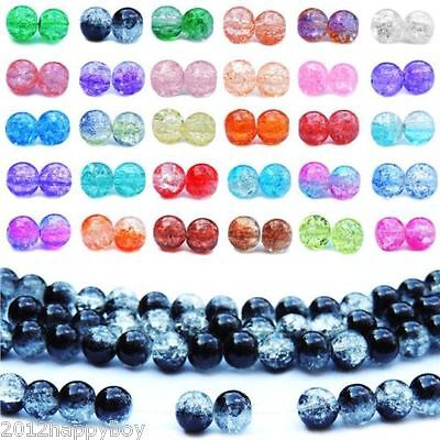 Wholesale Beads Two Tone Glass Crackle Loose Spacer Beads Jewelry Finding DIY