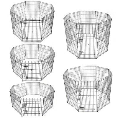 """24"""" 30"""" 36"""" 42"""" 48"""" Dog Playpen Metal Wire Crate Pet Puppy Fence Exercise Cage"""