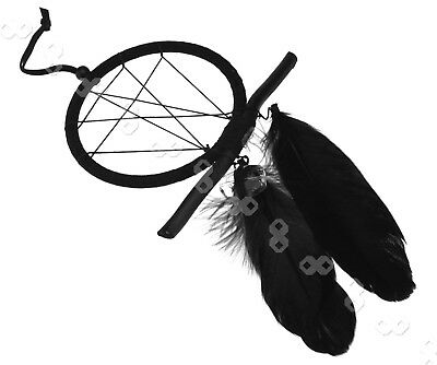 Black Bad Dream Catcher Feathers Crystal Native American Indian Dreamcatcher