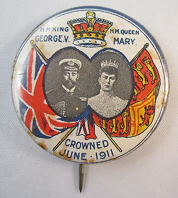 1911 KING GEORGE V QUEEN MARY CORONATION 33mm TIN BADGE #8